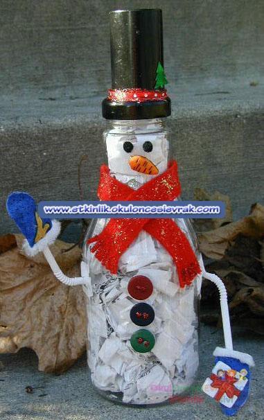 Снеговики из бутылки на новый год