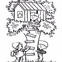 Cocuklar Icin Agac Ev Yapilar Binalar Boyama Sayfasi 6 Preschool