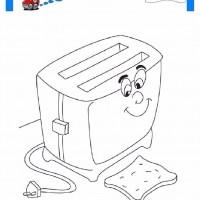 çocuklar Için Ekmek Kızartma Makinesi Eşyalar Boyama Sayfası 3