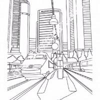 Cocuklar Icin Tren Istasyonu Yapilar Binalar Boyama Sayfasi 1