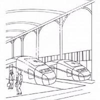 Cocuklar Icin Tren Istasyonu Yapilar Binalar Boyama Sayfasi 5