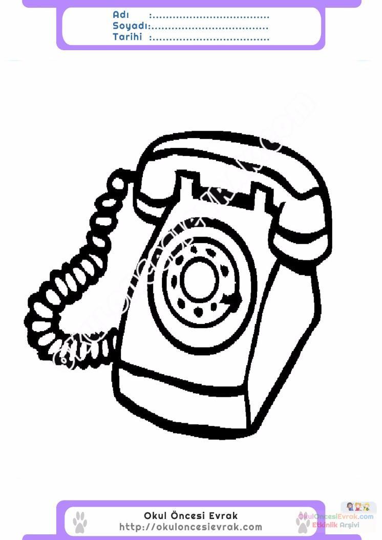 Cocuklar Icin Telefon Esyalar Boyama Sayfasi 4 Preschool Activity