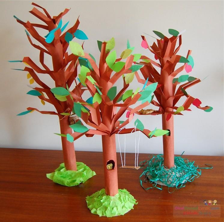 Дерево своими руками поделка из бумаги