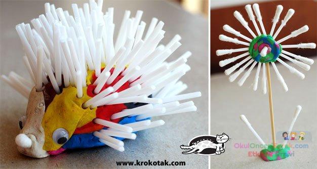 Как сделать ежика из ватных палочек