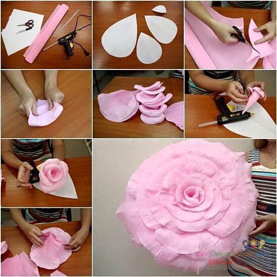 Сделать большие цветы из бумаги