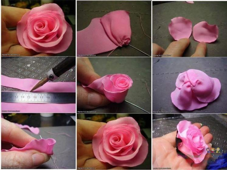 Роза из банта своими руками 29