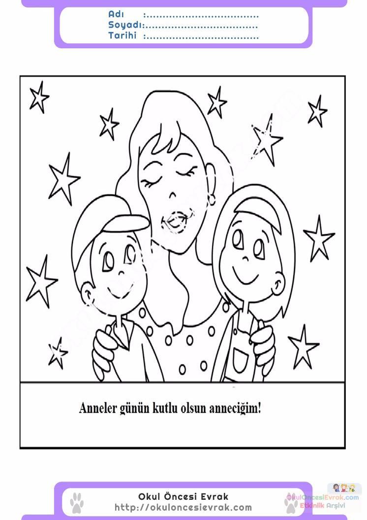 Anneler Gunu Belirli Gun Ve Haftalar Boyama Sayfasi 6 Preschool